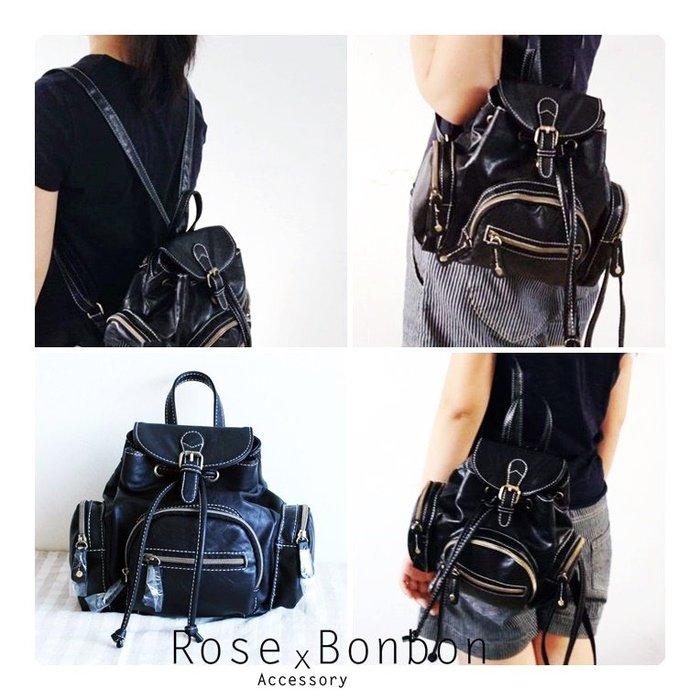 【現貨】日本帶回黑色雙肩迷小後背包 手提 軟皮小包包 日韓通勤背包 休閒復古 Rose Bonbon 01