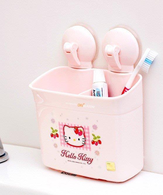 韓國hellokitty強力吸盤放梳子收納桶牙筒牙膏牙刷架浴室架置物盒(大號)