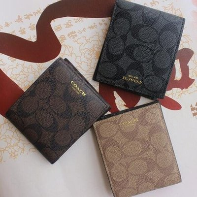 【八妹精品】COACH 74586 新款經典短款男錢包 錢夾  男士皮夾