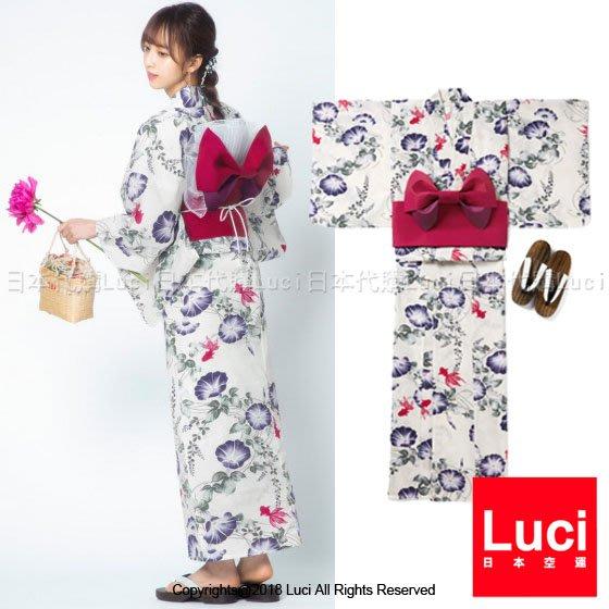浴衣 花與金魚 花朵浴衣和服三件組  日雜款  LUCI日本代購 [gi1209kx]