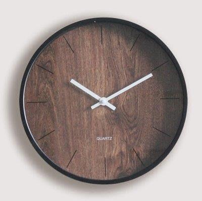 YEAHSHOP 掛鐘裝飾木紋掛錶臥室創意簡約北Y185