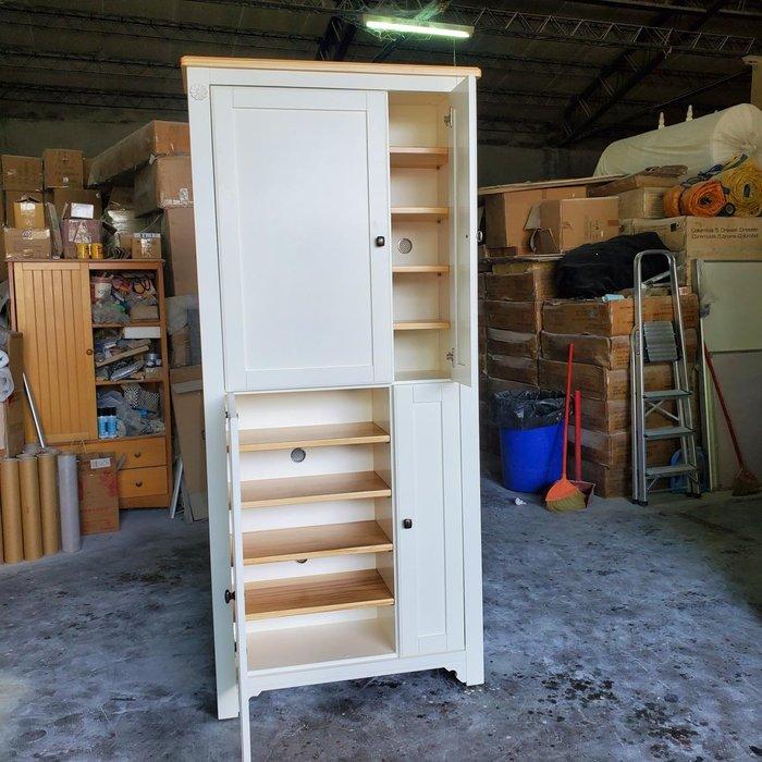 美生活館 鄉村傢俱訂製 客製化 茵儷 雙色 四門 衣帽鞋櫃 收納櫃 (淺木色+象牙白色 ) 玄關櫃 置物櫃也可修改再報價