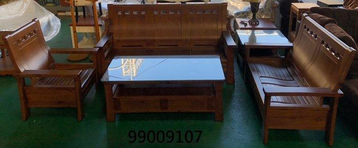 【弘旺二手傢俱】全新/庫存 1+2+3+大小茶几木組椅 鄉村風雙色布沙發 花梨木組椅-各式新舊/二手家具 生活家電買賣