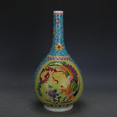 ㊣姥姥的寶藏㊣ 大清乾隆琺瑯彩掐絲龍鳳紋膽瓶官窯回流  古瓷器古玩古董收藏擺件