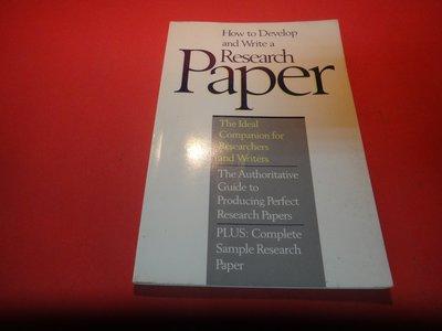 【愛悅二手書坊 21-16】 How to Develop and Write a Research Paper (劃記