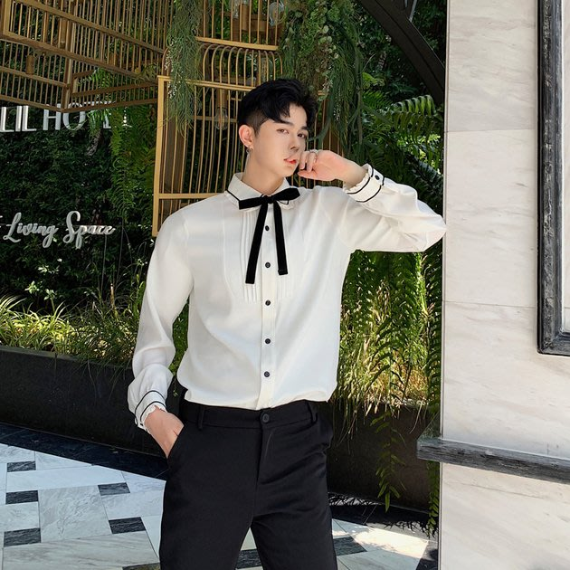 FINDSENSE 2019 秋季上新 G19 白色復古氣質宮廷蝴蝶結長袖襯衫素面襯衫 男裝 上衣