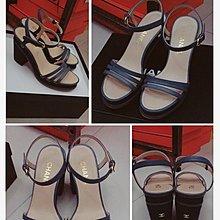 Chanel 門市購回,真品精品  粗跟涼鞋 size :37