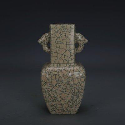 ㊣姥姥的寶藏㊣ 宋代哥窯金絲鐵線雙耳四方扁瓶  出土奉華款古瓷器 古玩古董收藏