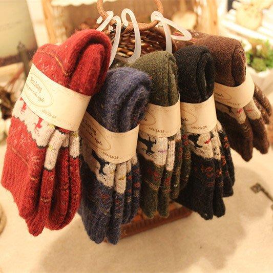 日本羊毛襪 加厚地板襪 室內襪 女士保暖毛襪 小鹿圖案 保暖毛巾底襪子6雙特價890元