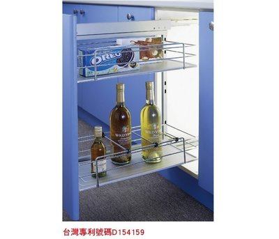 ╭☆魔法廚房☆F8220-1G系統櫥櫃內 專用一低一高調味瓶小側拉籃 屜頭式 附塑膠底盤