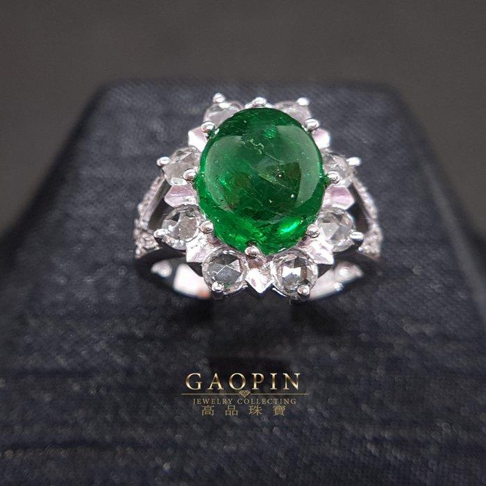 【高品珠寶】5.28克拉尚比亞祖母綠戒指 女戒 18K #135