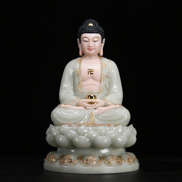 漢白玉石粉翠玉鑲金佛像娑婆三聖-釋伽牟尼佛
