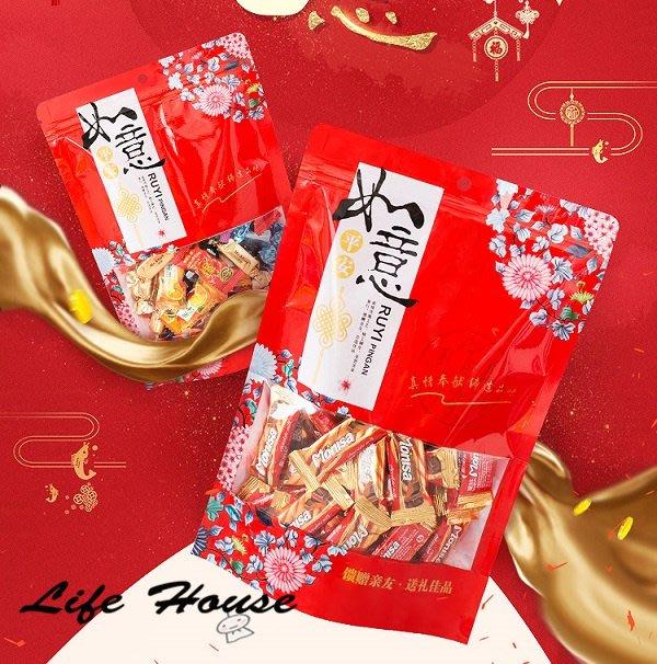 年貨糖果包裝袋 如意款 中18X26 5入夾鏈袋 厚款 密封袋 開窗袋 站立袋 花生糖包裝袋 堅果包裝袋 糖果餅乾包裝袋