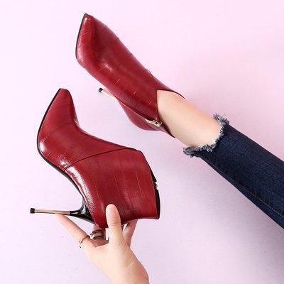 短靴 裸靴歐美秋冬新款氣質短靴女細跟高跟裸靴尖頭防水臺馬丁靴婚鞋女