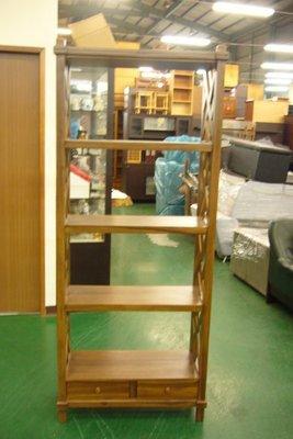全新庫存家具賣場  庫存原木 柚木交叉編織四層二抽屜展示架* 書架 雜誌架 藝品擺放櫃