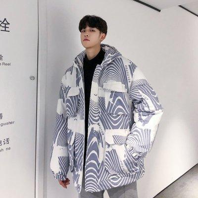 東家style 香港冬季正韓oversize加厚工裝棉服潮流連帽帥氣棉襖寬松面包服男