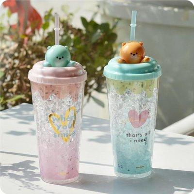 夏日碎冰可愛呆萌熊冰杯男女生吸管冰爽制冷雙層塑料制冷保溫杯