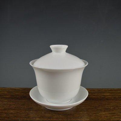 百寶軒 全手工制瓷280ML白釉薄胎三才蓋碗景德鎮瓷器功夫茶具 ZK1241