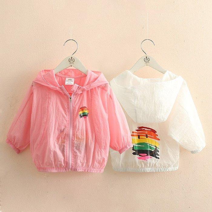 奇奇店-寶寶連帽防曬衣 夏裝新款女童童裝兒童拉鏈空調衫wt-9422#輕薄 #透氣 #舒適