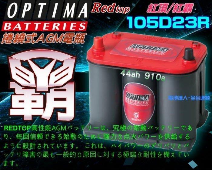 〈鋐瑞電池〉美國最強 紅霸 電瓶 OPTIMA 105D23R 汽車電池 LEGACY M7 U5 U6 OUTBACK