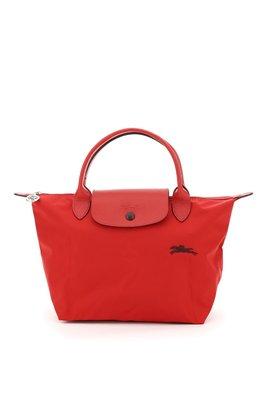 【折扣預購】21春夏LONGCHAMP LE PLIAGE Small小款紅色深紫色撞色尼龍短柄手提包/摺疊包S