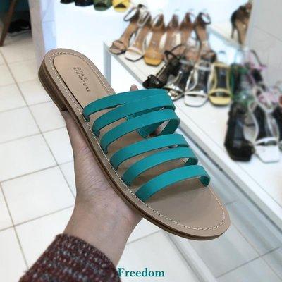 Freedom女鞋小小蘇韓國東大門夏新拖鞋女露趾一字細帶chic涼拖鞋平底休閒B62F