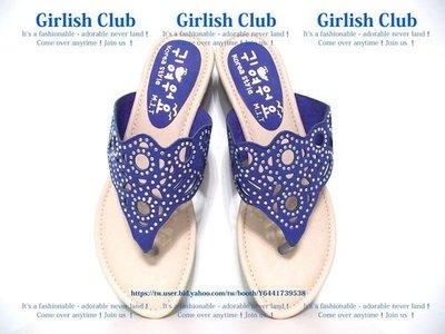 【Girlish Club】鏤空雕花水鑽夾腳人字拖鞋39(24.5)藍(m519)zara h&m ck拖鞋韓國小香二三一元起標
