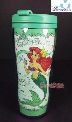 《東京家族》日本東京迪士尼Disney小美人魚公主愛麗兒-綠蝴蝶結水杯隨行杯