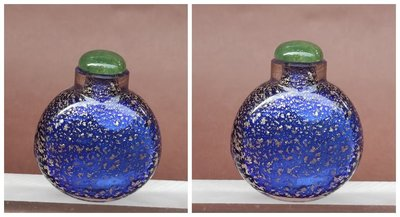 【 懷德-肖 】託 售--- 老 件 ---藍 料 灑 金 鼻 煙 壺