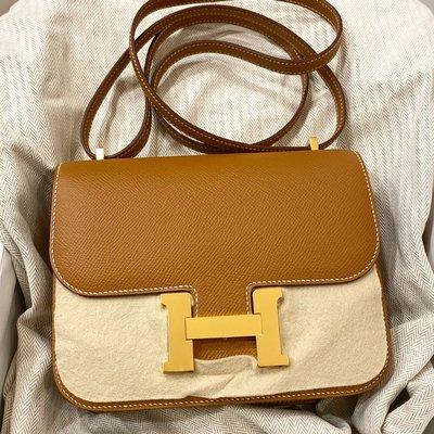 J-Shop Luxury 精品店 hermes Constance 19cm 37 gold 焦糖色 epsom 金釦D刻