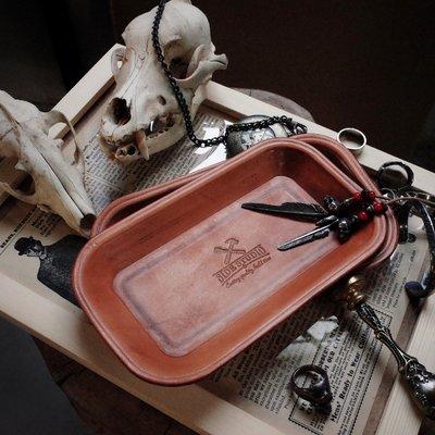 拓荒者革製所。Studio鑰匙文玩首飾手錶飾品收納盒塑形真皮托盤 玄關鑰匙盤 小物收納 居家植鞣牛皮長形置物盤復古收納盤
