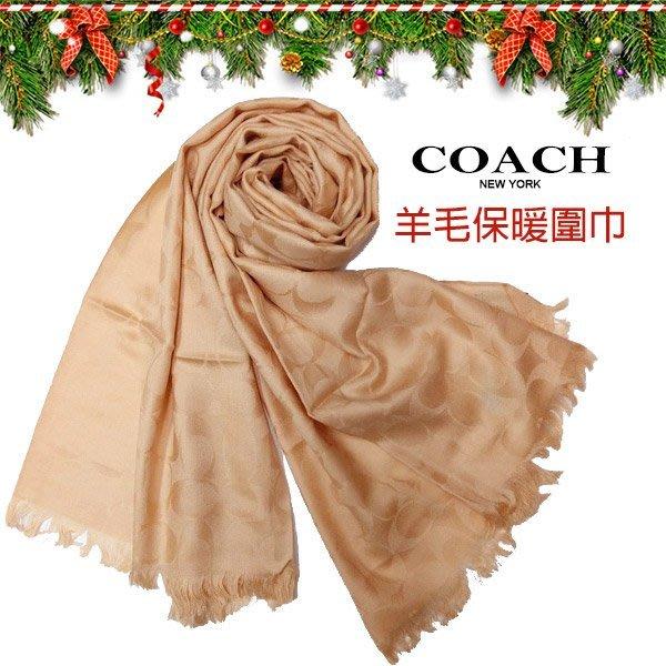 COACH 圍巾 香檳金 C Logo羊毛混絲保暖流蘇 母親節 附原廠紙盒