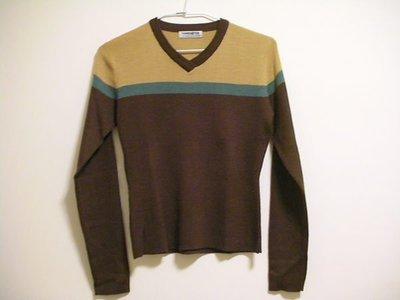 全新 HANG TEN 百搭個性風深咖啡色 V 領細緻柔軟女長袖針織衫毛衣 / 可內搭可單穿