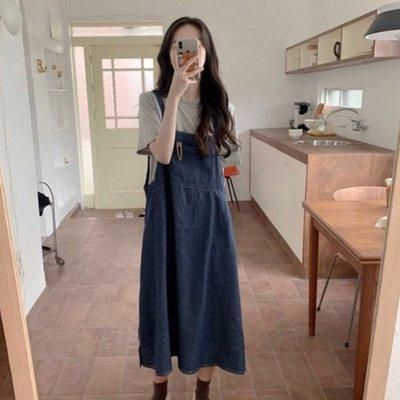兩件式丹寧裙裝 韓式風格上衣+吊帶裙套裝 艾爾莎  【TGK7668】