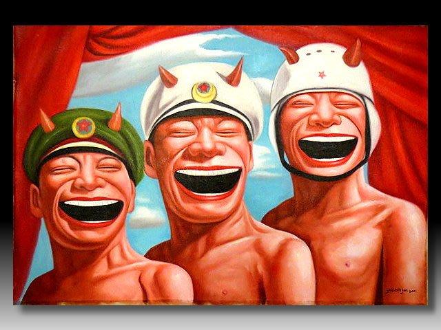 【 金王記拍寶網 】U1237  九O年代當代亞洲藝術家 岳敏君款 手繪油畫一張 ~ 罕見系列作品 稀少 藝術無價~