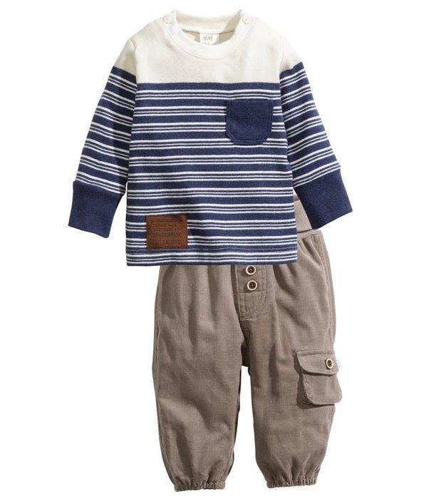 *小豆仔的屋Dou Dou House*歐洲瑞典H&M童裝/條紋休閒長袖上衣長褲套裝(現貨+預購)