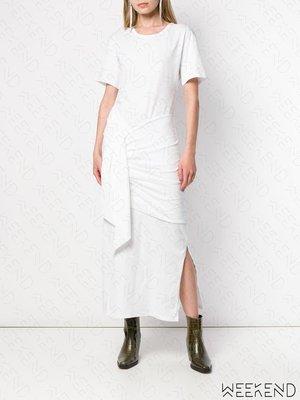 【WEEKEND】 EACH X OTHER 綁腰效果 短袖 開岔 連身裙 長洋 白色 折扣