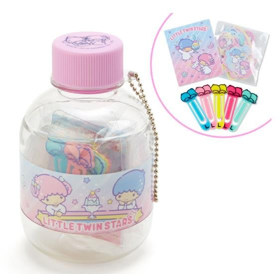 【莓莓小舖】正版 ♥ Sanrio 三麗鷗 KIKILALA雙子星 瓶中迷你文具組 書籤夾 便條紙