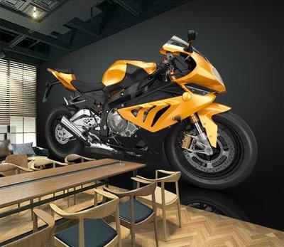 客製化壁貼 店面保障 編號F-674 黄色摩托車 壁紙 牆貼 牆紙 壁畫 背景牆 星瑞 shing ruei