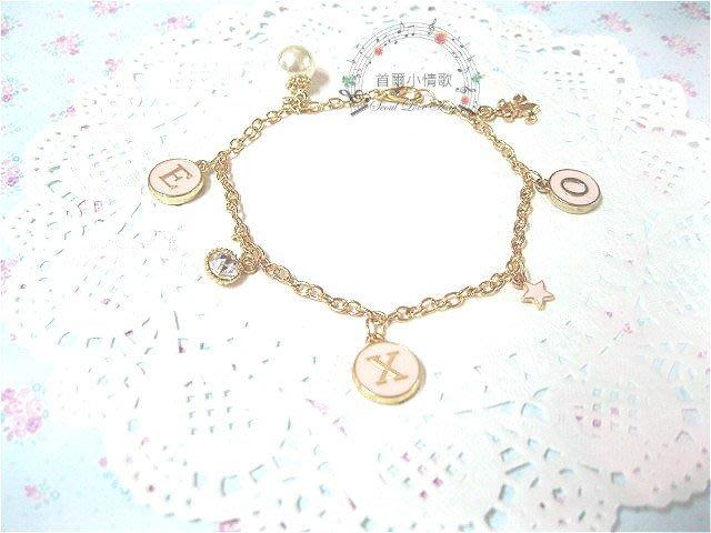 【首爾小情歌】EXO 珍珠吊飾玫瑰金色手鍊。韓EXO字母圓形 水鑽 星星 鳶尾花 吊飾手環 古典質感手鏈 飾品 粉紅色
