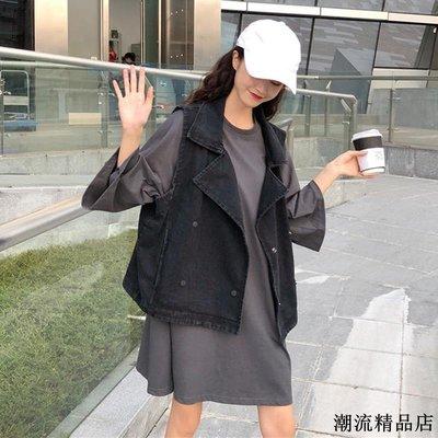 兩件套裝早春新款韓版寬松上衣+無袖牛仔馬甲時尚學生套裝女