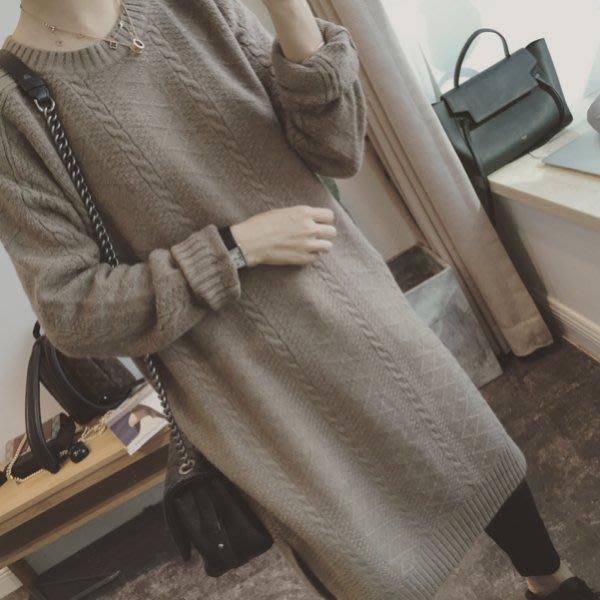 【Casi Cielo】韓國訂單 超美 熱銷 百搭 簡約優雅 麻花 編織設計 寬鬆 柔軟毛衣 外套 大衣 (咖啡色 )