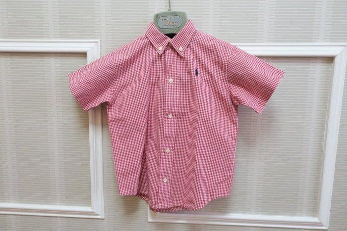*Beauty*RALPH LAUREN紅白細格紋短袖襯衫 4T   號   900    元GR
