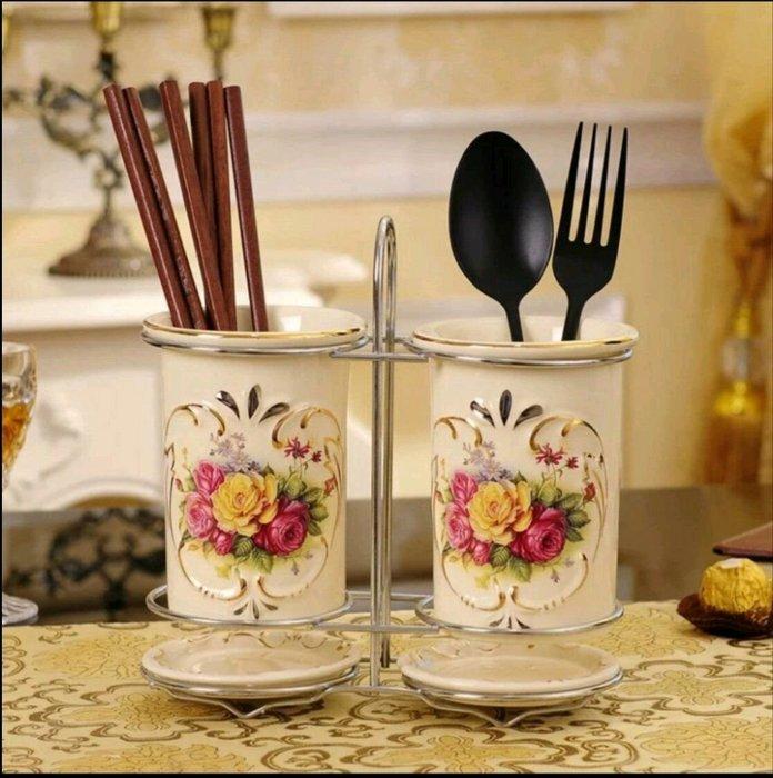粉紅玫瑰精品屋~象牙瓷雙筒筷筒刀叉筒 歐式創意雙筷筒~