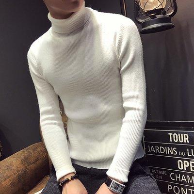 【時尚先生男裝】春季新款青少男士韓版修身純色長袖套頭毛衣高領百搭針織衫 ZS1227
