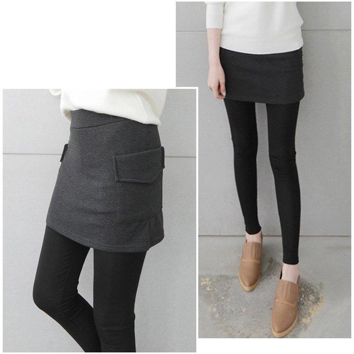 【Hao Da】全館399免運↘「M~XL。現貨」側口袋 內刷毛 假兩件內搭褲 (P1126)