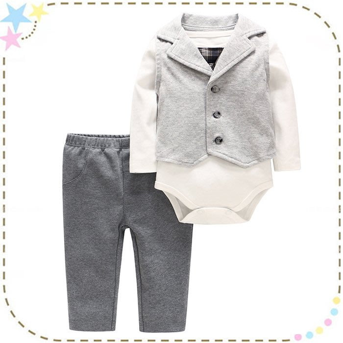 貝克比比屋☆秋天新款男童套裝 灰色背心紳士裝三件套*6m、9m、12m、18m 西裝造型