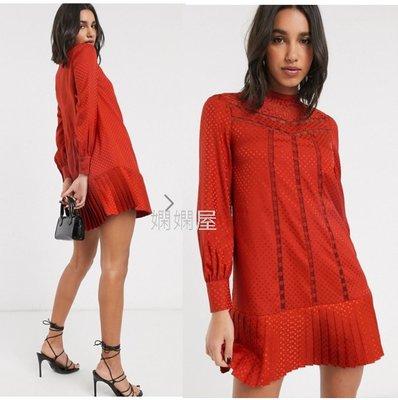 (嫻嫻屋) 英國ASOS-Ted Baker 優雅時尚名媛橘紅色圓點鍛面高領蕾絲嵌入百褶裙洋裝禮服 SF20