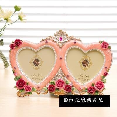 粉紅玫瑰精品屋~唯美英倫玫瑰歐式田園雙心愛心心型結婚相框~