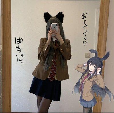 時尚  熱銷櫻島麻衣學姐黑絲JK制服百褶裙日系校供感學院風半身裙套裝女全套